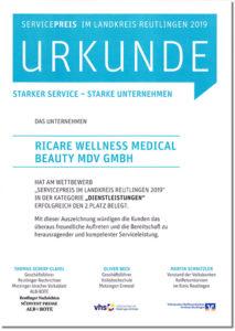 ricare-dettingen-urkunde-servicepreis-2019
